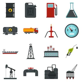 Olie-industrie items instellen plat pictogrammen
