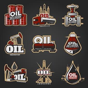 Olie-industrie kleurrijke logo's
