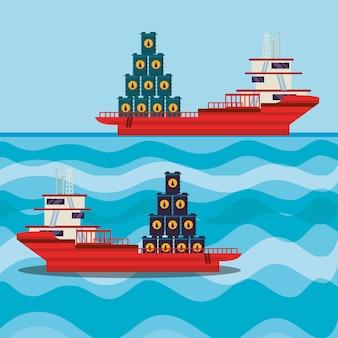 Olie-industrie met schip vrachtschip