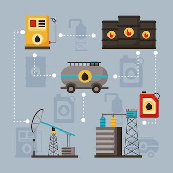 Olie-industrie set zes pictogrammen
