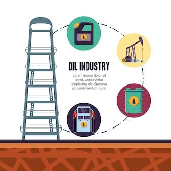 Olie-industrie stel pictogrammen
