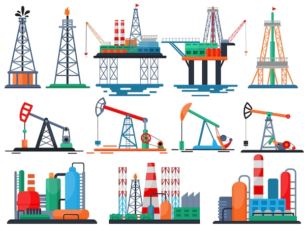 Olie-industrie vector olieachtige producten geoliede technologie produceren boren brandstofpomp set van industriële apparatuur kraan geïsoleerd