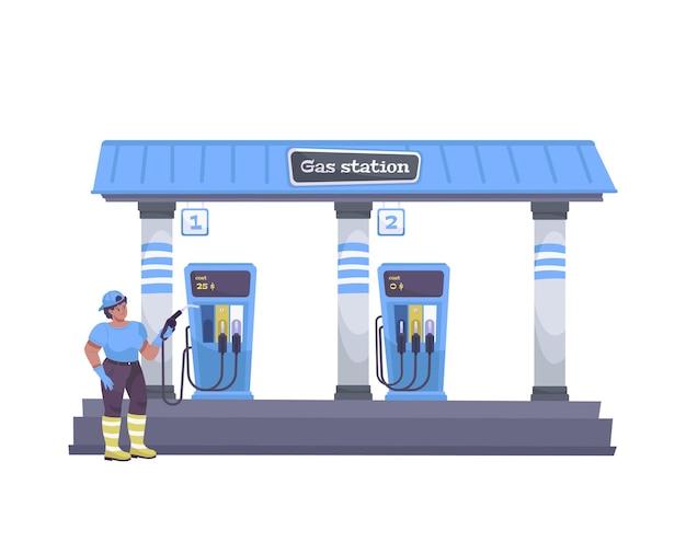 Olie-industrie vlakke samenstelling met uitzicht op automobiel benzinestation met menselijk karakter van werknemer