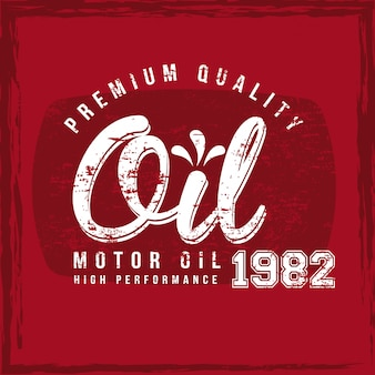 Olie label over rode achtergrond vectorillustratie