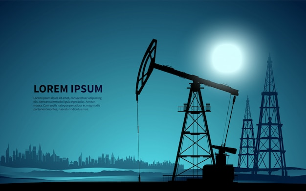 Olie platform. olie productie. illustratie