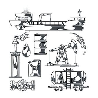Olie set van geïsoleerde zwart-wit afbeeldingen met booreilanden, tankerboot en bussen