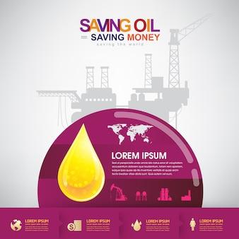 Olie vector concept spaarolie geld besparen