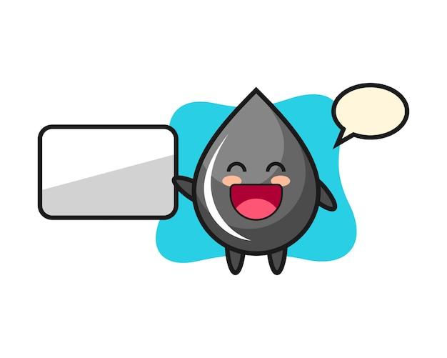 Oliedruppel cartoon afbeelding doet een presentatie