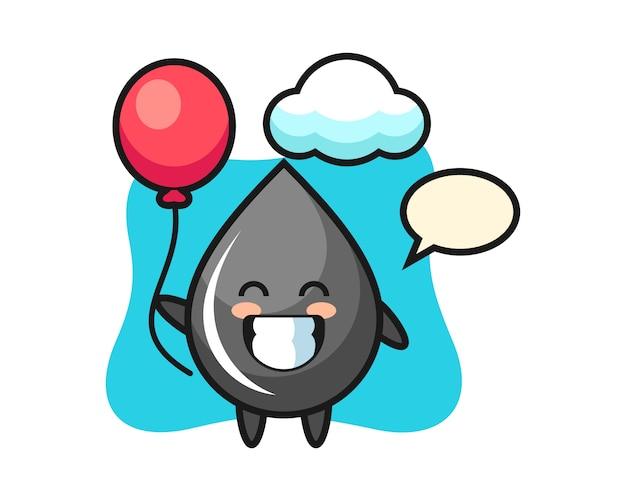 Oliedruppel mascotte illustratie speelt ballon