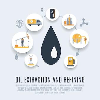 Olieindustrie platte pictogram