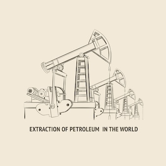Oliepomp geïsoleerd over wit en tekst