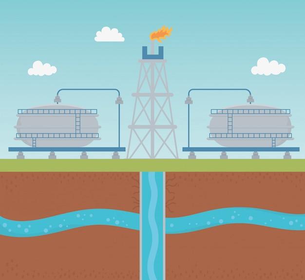 Oliepomp met extractieproces van watertank fracking