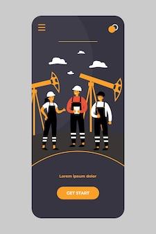 Olieraffinaderij-ingenieurs werken aan fabriek op mobiele app