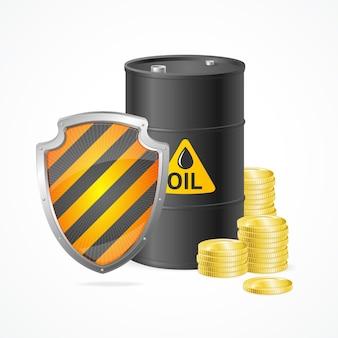 Olievat prijs veiligheidsconcept geïsoleerd.