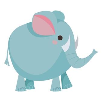 Olifant cartoon rond blauw schattige babyolifant voor kinderen vectorillustratie in cartoon