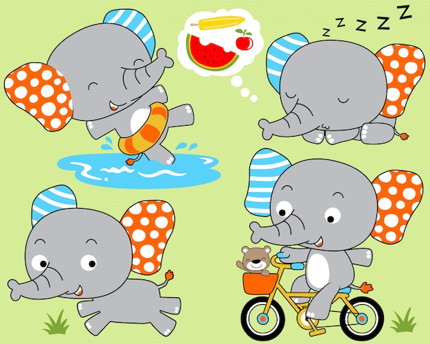 Olifant cartoon set