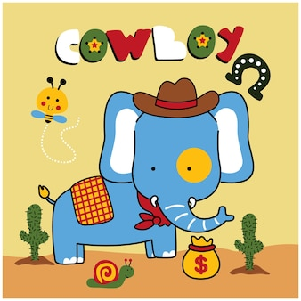 Olifant de cowboy grappige dieren cartoon