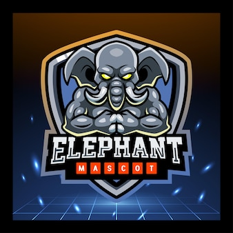 Olifant gaming mascotte esport logo ontwerp