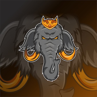 Olifant hoofd e sport logo sjabloon