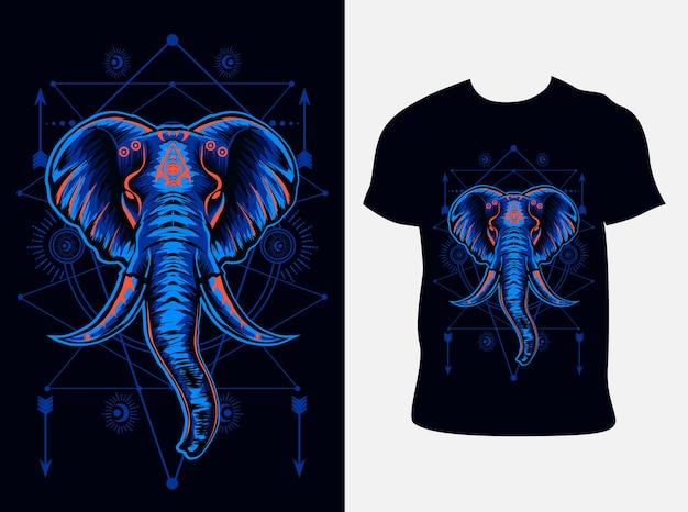 Olifant hoofd illustratie met t-shirtontwerp