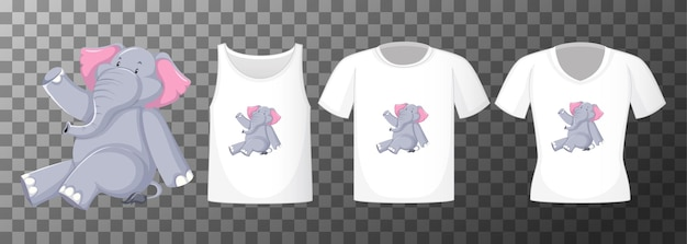 Olifant in zittende positie stripfiguur met vele soorten shirts