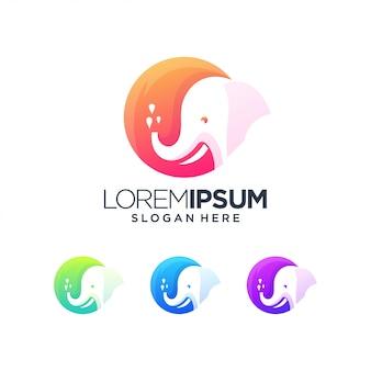 Olifant logo kleur kunst dier