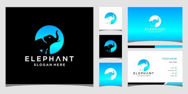 Olifant logo ontwerp met sjabloon voor visitekaartjes