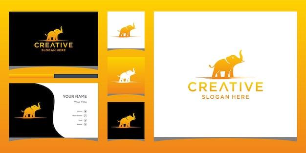 Olifant logo-ontwerp met sjabloon voor visitekaartjes