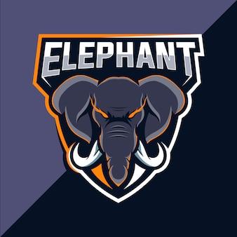 Olifant mascotte esport logo ontwerp