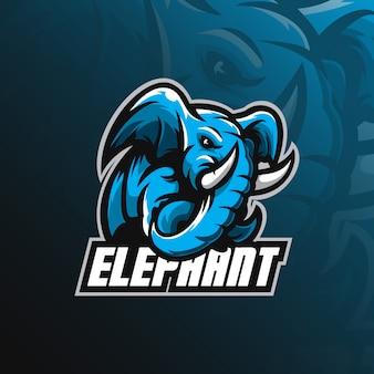 Olifant mascotte logo met moderne illustratie