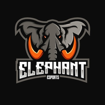 Olifant mascotte logo-ontwerp met moderne illustratie conceptstijl