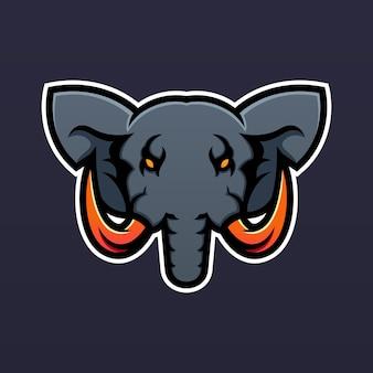 Olifant mascotte logo ontwerpsjabloon