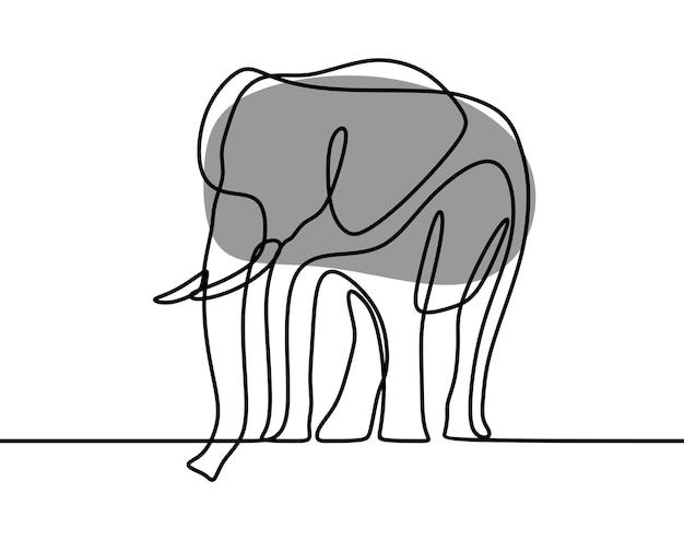 Olifant oneline doorlopende lijntekeningen