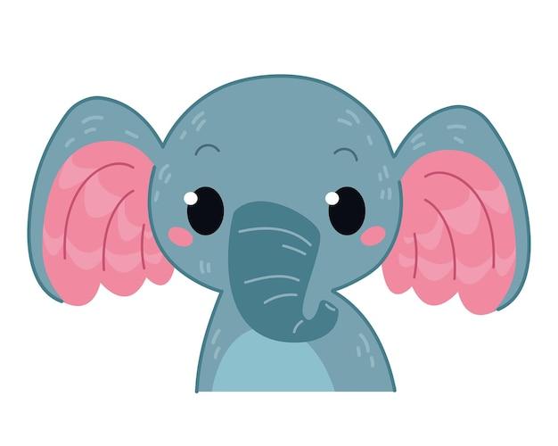 Olifant pictogram en symbool vectorillustratie afdrukken voor kinderkamer baby dier dierentuin clipart cartoon