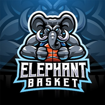 Olifant sport esport mascotte logo ontwerp