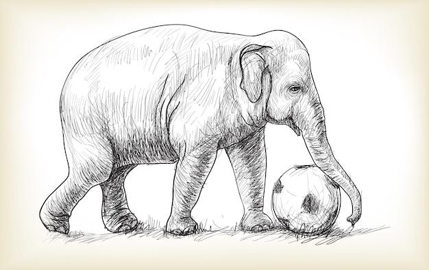 Olifant voetballen illustratie