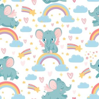 Olifanten op regenboog naadloos patroon. magische dierenprint voor kinderkamer. babyolifant in de lucht met wolken, sterren en harten vector textuur. kinderachtige karakters voor inpakpapier, behang