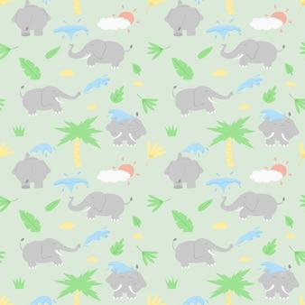 Olifanten spelen met water actie cartoon ontwerp naadloze patroon. Premium Vector