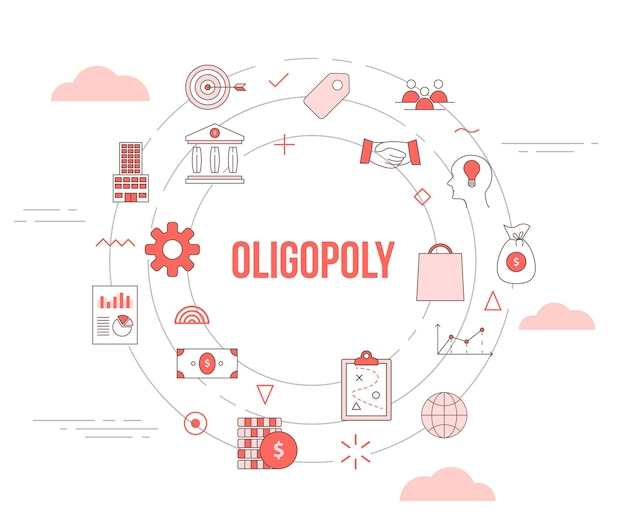 Oligopolie concept met pictogrammenset sjabloon banner