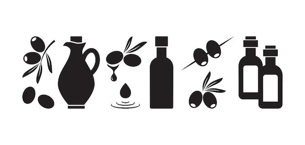 Olijf icoon olie fles, olijf fruit blad tak zwarte silhouetten Premium Vector