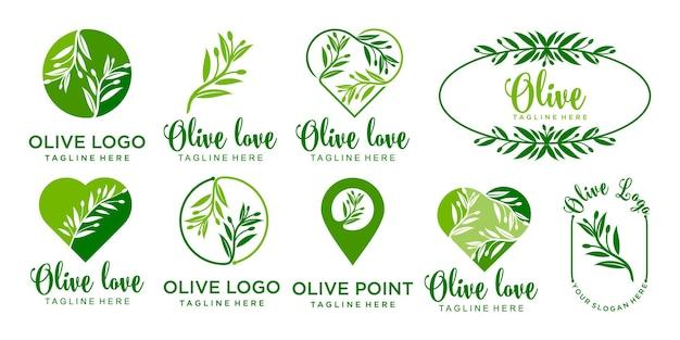 Olijf logo pictogram set sjabloon vector ontwerp