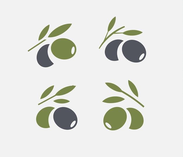 Olijf logo set. zwarte rijpe en groene olijftak met bladeren. gastronomische voedselemblemen. eenvoudig logo-ontwerp
