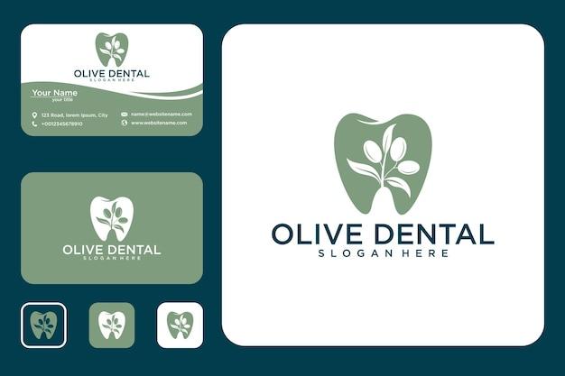 Olijf tandheelkundig logo-ontwerp en visitekaartje