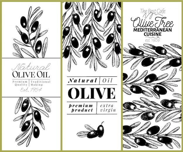 Olijfboom banner set. vector hand getrokken retro illustratie. retro-stijl afbeelding.