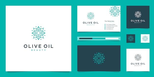 Olijfboom en olie logo-ontwerp en visitekaartjes premium