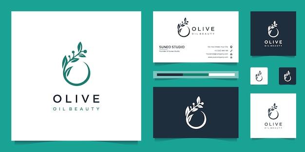 Olijfboom en olie logo-ontwerp en visitekaartjes