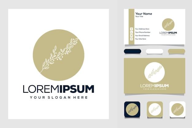 Olijfboom met cirkellogo-ontwerp en visitekaartje
