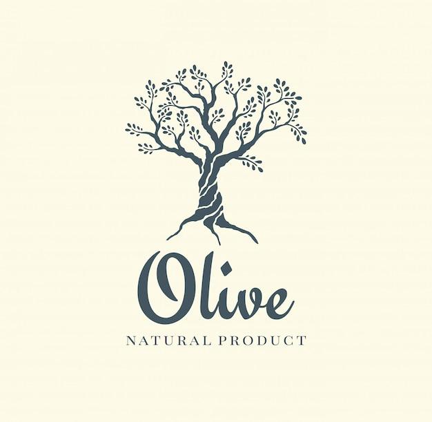 Olijfboom vector logo ontwerpsjabloon voor olie