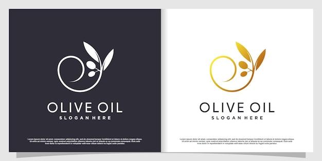 Olijflogo met modern creatief element premium vector deel 3