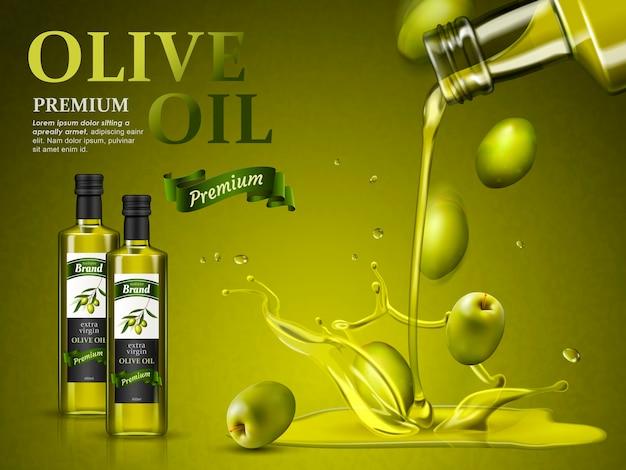 Olijfolie advertentie en olijfolie naar beneden gieten